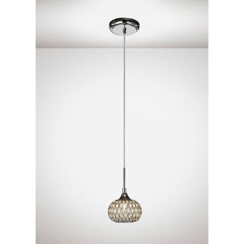 Diyas  IL31502 Chelsie Small Pendant Light Polished Chrome/Clear Glass
